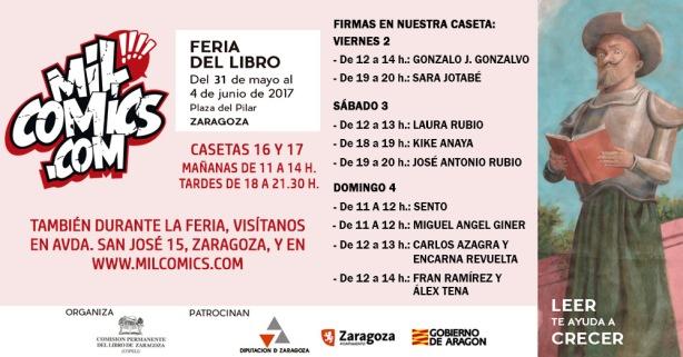 Cartel milcomics en feria del libro de Zaragoza